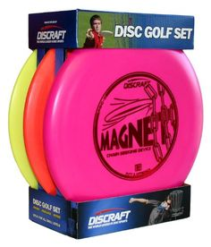 Discraft Beginner Disc Golf Set, 3-Pack Discraft http://www.amazon.ca/dp/B003H7YUQS/ref=cm_sw_r_pi_dp_-K7Xtb04RM7EZ96F