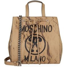 Moschino Recycle Logo Printed Tote Bag ($1,225) ❤ liked on Polyvore featuring bags, handbags, tote bags, genuine leather tote, handbags totes, man bag, beige tote bag and leather handbag tote