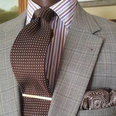 Mixing 4 Patterns on a Hot Summer Day    #simplythefinestclothestomeasure #lilliantony #letlilliantonydressyou #youshouldlooklikethis #paisley #polkadot #stripes #plaid #bespoke #handmade #haberdash #custom #wool #silk #cotton #spreadcollar #menswear #pocketsquare #tie #fourinhand #jacket #sportcoat #suit #lotd #dresswell #tiebar