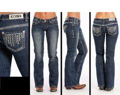 Rock & Roll Cowgirl Women's Junior Boot Cut Boyfriend Jeans W2-7370