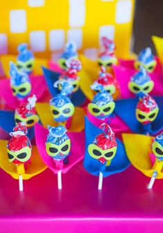Love these lollipops at a girl superhero birthday party! See more party ideas at CatchMyParty.com!
