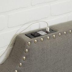 Twin/Twin XL Powered Headboard Dormify - March 24 2019 at Modern Headboard, Twin Headboard, Diy Upholstered Headboard, Studded Headboard, Custom Headboard, Headboard Designs, Headboard Ideas, Dorm Room Headboards, Dorm Room Bedding