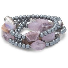 Chico's Madge Lavender Stretch Bracelet ($39) ❤ liked on Polyvore featuring jewelry, bracelets, soft orchid, plastic jewelry, stretch bracelet, bracelet bangle, bracelet jewelry and beading jewelry