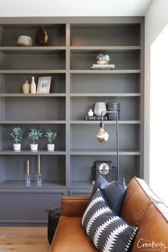 Shelves painted with Sherwin Williams Porpoise. Shelves painted with Sherwin Williams Porpoise. Trending Paint Colors, Popular Paint Colors, Cabinet Paint Colors, Kitchen Paint Colors, Bathroom Colors, Grey Kitchen Cabinets, Painting Kitchen Cabinets, Decoration Inspiration, Living Room Paint