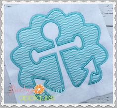 Scallop Cut Out Anchor Patch - A fun and simple anchor design. This scallop patch is an easy stitch out with only 1 fabric needed.