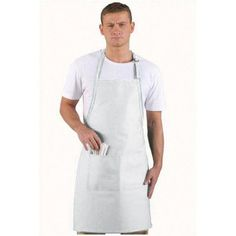 This long Butcher Apron provides more protection and features a center divided patch pocket and two piece slider neck adjustment. Restaurant Uniforms, Bib Apron, Aprons, White Apron, Professional Look, Classic White, Smocking, Blue And White, Pocket