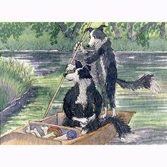 Border Collie dog pup punting river - art signed print