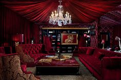 Nothing says luxury like red velvet drappings and sumptuous seating.