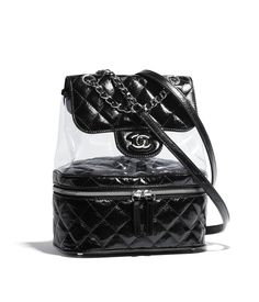 Handbags of the {collectionName} CHANEL Fashion collection : Backpack, crumpled calfskin, pvc, resin & silver-tone metal, black on the CHANEL official website.
