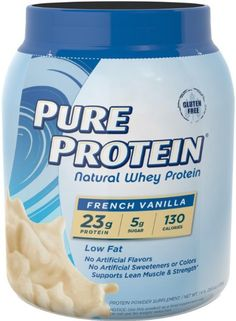 Pure Protein Natural Whey Protein Powder, French Vanilla, 1.6 Pound (Packaging…