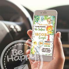 Be happy: Tarjeta de invitación digital Jungle Party, Ideas Para Fiestas, Lol Dolls, 1st Birthday Parties, Baby Shower, Baby Boy, Invitations, Happy, Kids