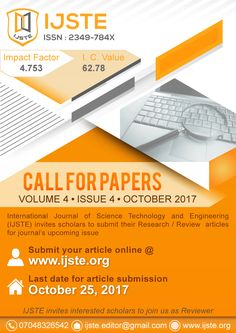 IJSTE is peer-reviewed, monthly, online international research journal & thesis publication publishes from all areas of Engineering India