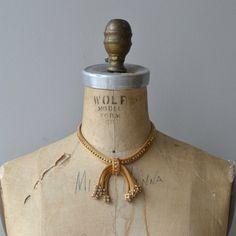 Regency Bow necklace  vintage gold choker  gold mesh by DearGolden