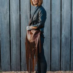 gingerbread brown 'hula' bagmedium sized with a cross-body strapdouble fringing and stud 000