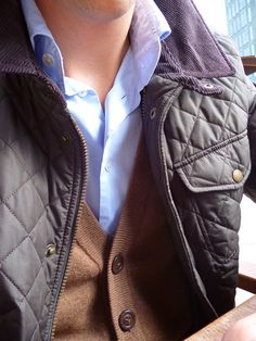 Sweater vest under quilted jacket