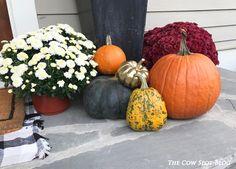 Fall Front Porch with Pumpkins, Mums, Gold Pumpkins and DIY Buffalo Check Mat.