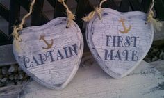 Nautical Wedding Signs Captin & First Mate READY TO SHIP Wedding Chair Signs with Anchor Beach Weddings, Military Weddings, Navy