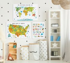 Gorgeous world map, USA Map and alphabet canvas for kids will make a perfect baby gift to go as nursery decor or playroom art. It will stimulate your child's visual memory and teach them about world and USA.