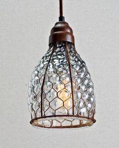 chicken wire & glass pendant