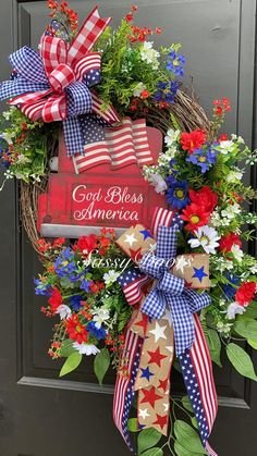 You do things… Fourth Of July Decor, 4th Of July Decorations, 4th Of July Wreath, July 4th, Summer Door Wreaths, Christmas Mesh Wreaths, Winter Wreaths, Spring Wreaths, Prim Christmas