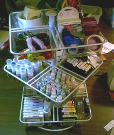 LOVE this spinning rack for organizing... all kinds of possibilites... thinking nail polish, make-up, etc. & lots of other great storage ideas on this site!!