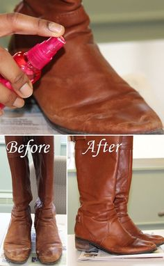 First, stuff the toe to fully spread out the leather for a thorough cleaning. How to remove salt stains from boots! ~ 31 Clothing Tips Every Girl Should Know Look Fashion, Diy Fashion, Fashion Tips, Fashion Hacks, Diy Cleaning Products, Cleaning Hacks, Cleaning Schedules, Cleaning Solutions, Dandy