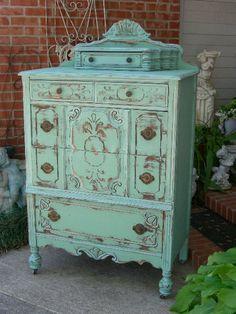 I just love our aqua tourmaline color!! Especially with a heavy distress like this! www.redbarnestates.com