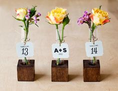 May Wedding Favors Idea: DIY: Bud Vase Favors & Escort Cards with photos and instructions | via InkedWeddings.com