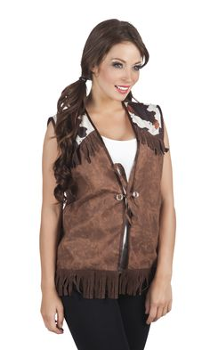Chaqueta vaquera marrón mujer: Este accesorio de disfraz es un chaleco sin mangas para mujer.Es de poliéster marrón con efecto terciopelo y cuero. En los hombros hay piezas blancas y marrones para simular el...