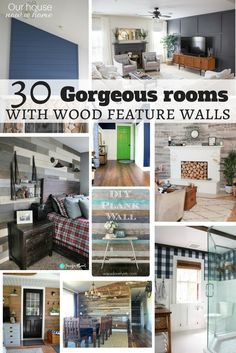 30 gorgeous rooms with wood feature walls shared from home decor bloggers. Farmhouse style, rustic, traditional, modern, bold, neutral or filled with colors and so much more. A decorating style for everyone, these DIY projects are the perfect way to add some wood details to the home!