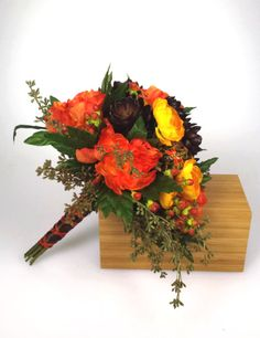 Fall wedding bouquet http://www.etsy.com/listing/160348532/orange-and-yellow-bridal-bouquet-with