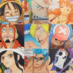 Finally did all nine of them and so here they are: The Strawhat Pirates. [Luffy, Zoro, Nami, Usopp, Sanji, Chopper, Robin, Franky, Brook] Each character is drawn and colored on a postcard based on an anime scene.  #CopicMarkers #OnePiece Copic Markers on Postcard Cardstock