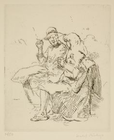Isabel Bishop / Park Bench / etching / Union Square / New York / Teller 40a / Eight Etchings, 1930--1959 / printmaking / drawing / art / decor / couple / cigarette / conversation