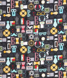retro fabric from the USA with glasses, mustache, tie, cassette, headphones etc.