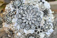 Deco bridal brooch bouquetdeposit on a made to order by Noaki, $235.00