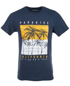 Palm motifs over a two-tone boardwalk-look print on Univibe's soft Paradise California graphic T-shirt offer to bring a warm, laid-back vibe to your casual style. Cool Graphic Tees, Graphic Shirts, Printed Shirts, Mens Tee Shirts, Cool Shirts, Shirt Print Design, Shirt Designs, Paradise California, Christmas Tree Wreath