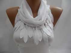 I MUST have this!!!!  Women white Cotton Scarf  Headband  Cowl with Lace Edge  by DIDUCI, $13.50