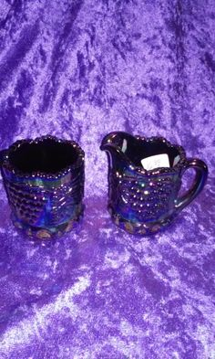 """CARNIVAL FENTON ART Glass, Miniature Creamer and Sugar Set,Creamer 2-1/4""""T,2-1/2""""long sugar is 2""""T 1-3/4w,has Raised Grapes&Leaves on it by DwedgeCreations on Etsy"""