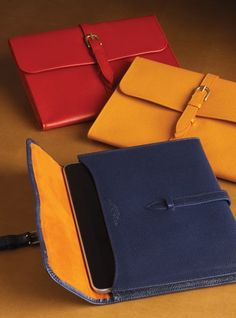 58d5803d93d iPad Case in Pebbled Leather and Suede Interior Leather Gifts