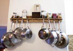 Pallet Kitchen Pot rack and Shelf | Pallet Furniture DIY