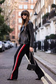 Image result for black side stripe trousers outfits