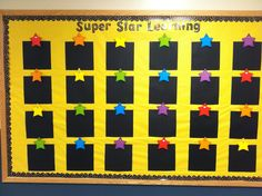 """I like the black paper laminated to hang student work on. Maybe use owls instead of stars. """"Good Work Spotted Here"""" (love this new caption! Star Themed Classroom, Stars Classroom, Classroom Bulletin Boards, New Classroom, Classroom Walls, Classroom Setup, Classroom Displays, Kindergarten Classroom, Classroom Design"""