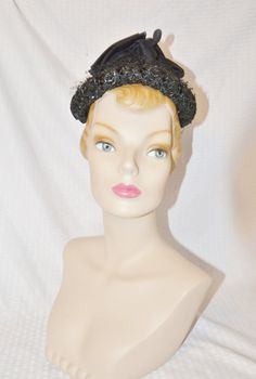 50s 60s Vintage Black Pixie Hat with Bows by MyVintageHatShop