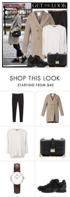 """""""Street style: coats"""" by gifra ❤ liked on Polyvore featuring Zara, 'S MaxMara, Topshop, Valentino and Daniel Wellington"""