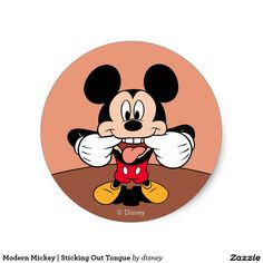 Modern Mickey   Sticking Out Tongue. Producto disponible en tienda Zazzle. Product available in Zazzle store. Regalos, Gifts. Link to product: http://www.zazzle.com/modern_mickey_sticking_out_tongue_classic_round_sticker-217723192546306105?CMPN=shareicon&lang=en&social=true&rf=238167879144476949 #sticker #disney
