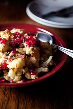 fiveandspice.com | Roasted cauliflower with harissa cream