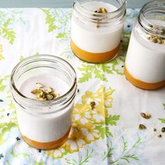 4 Yummy Ways to Make Summer Panna Cotta via Brit + Co. Dessert Cups, Dessert Drinks, Coconut Panna Cotta, Cold Desserts, Gluten Free Treats, Sweets Recipes, Desert Recipes, A Table, Desserts
