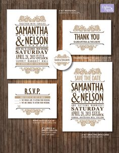Wedding Invitation Printable, Customized Vintage style, RSVP, Thank you card, envelope seal, cottage chic lace