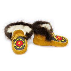 Size 6.5 - Women's Moose Hide and Beaver Fur Hi-Top Moccasins - with Yellow and Orange Beads - Kitigan