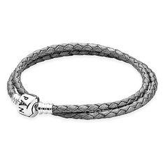 PANDORA Leather Wrap Charm Bracelet (734.375 IDR) ❤ liked on Polyvore featuring jewelry, bracelets, grey, charm bangle, genuine leather bracelet, pandora bangle, adjustable bracelet and pandora bracelet